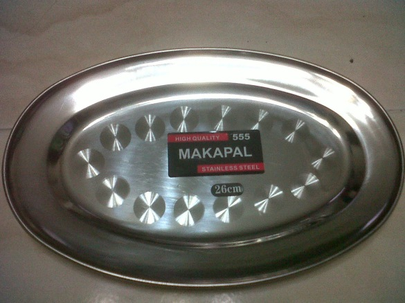Baki Oval Stainless makapal 555 ukuran 26 cm